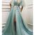 Unique Long Tulle V Neck Evening Dress  Lace Cap Sleeve Long Prom Dress V2650