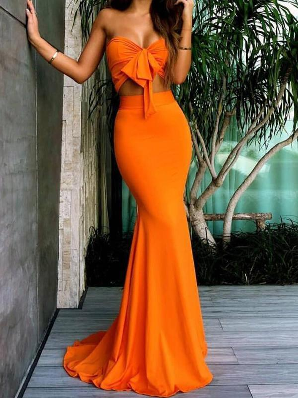 Sweetheart Mermaid Prom Dresses Sexy Two Pieces Long Bridesmaid Dresses G2401