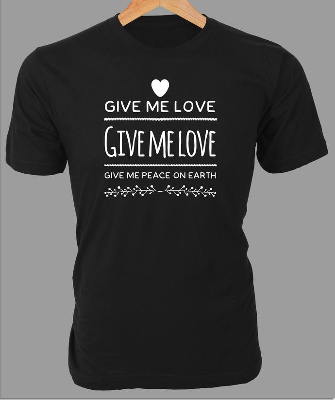 George Harrison lyrics 'Give Me Love, Give Me Peace on Earth' graphic on Custom