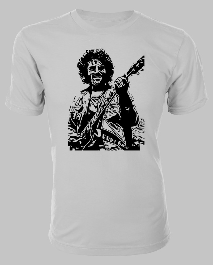 Jerry Garcia of the Grateful Dead silhouette on Custom T-Shirt makes a great