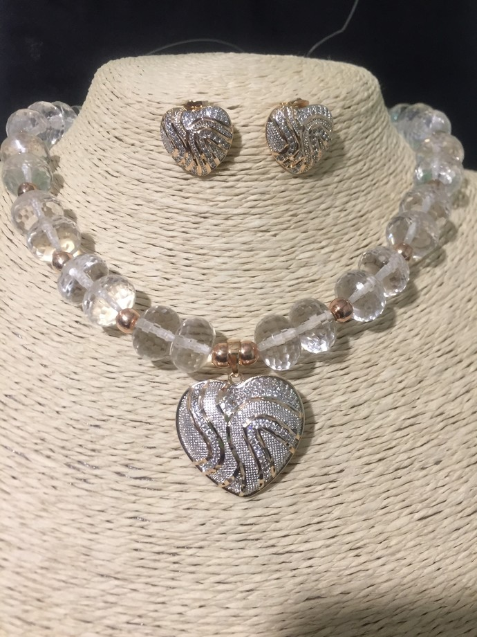 Rose Gold Heart, Crystal Necklace and Earring Set