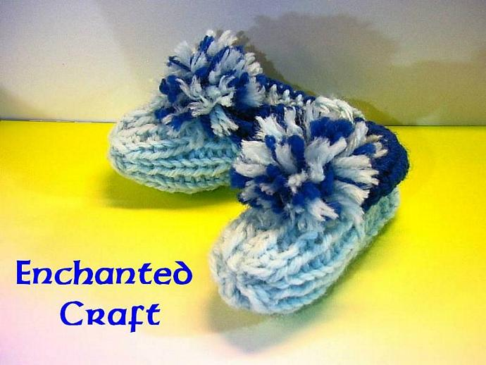handmade knitted blue ravenclaw baby booties- from a vintage pattern