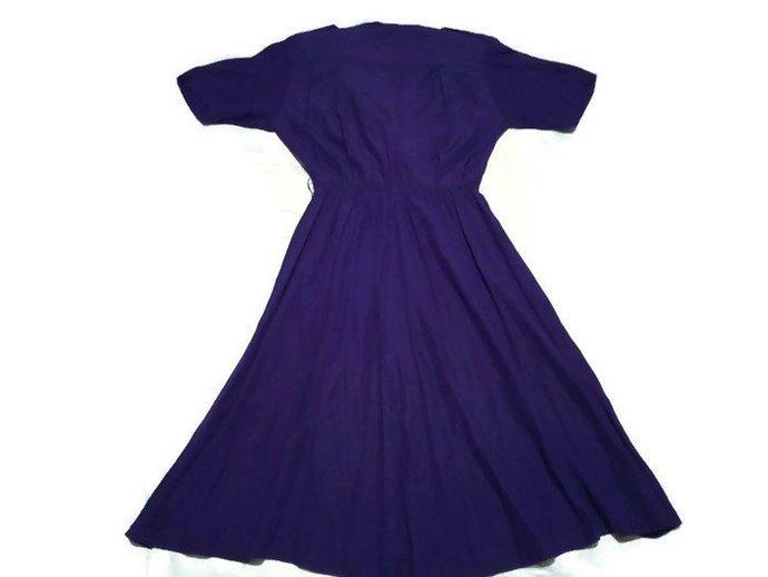 1980's Purple Women Dress, Summer Retro Dress, Vogue Dress