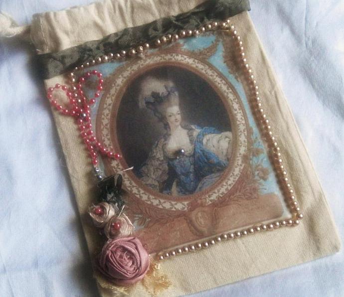 Marie Antoinette muslin pouch - 5 x 7 inch