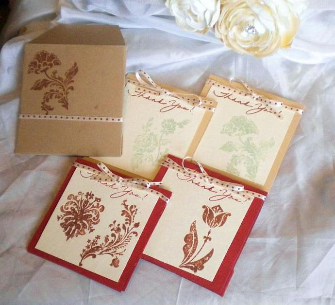 Damask flower thank you card/envelope set- set of 4