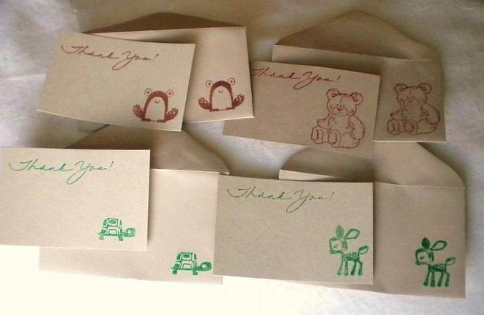 Woodland animal thank you card n envelope -set of 5