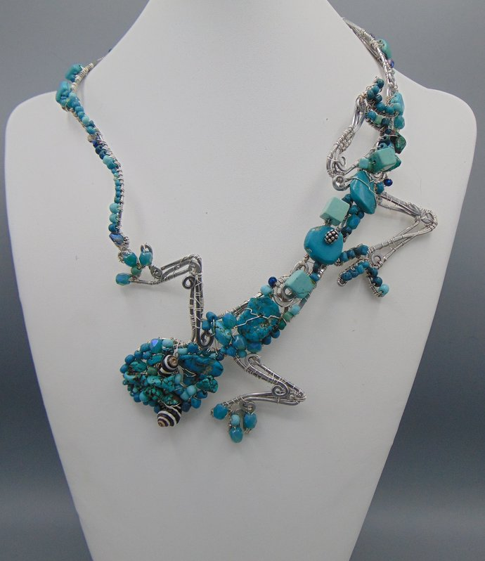 Wrap Around Turquoise Lizard Necklace