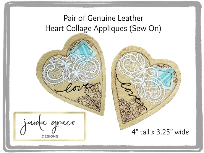 Pair of Embroidered Genuine Leather Antique Collage Heart Appliques (Sew On)