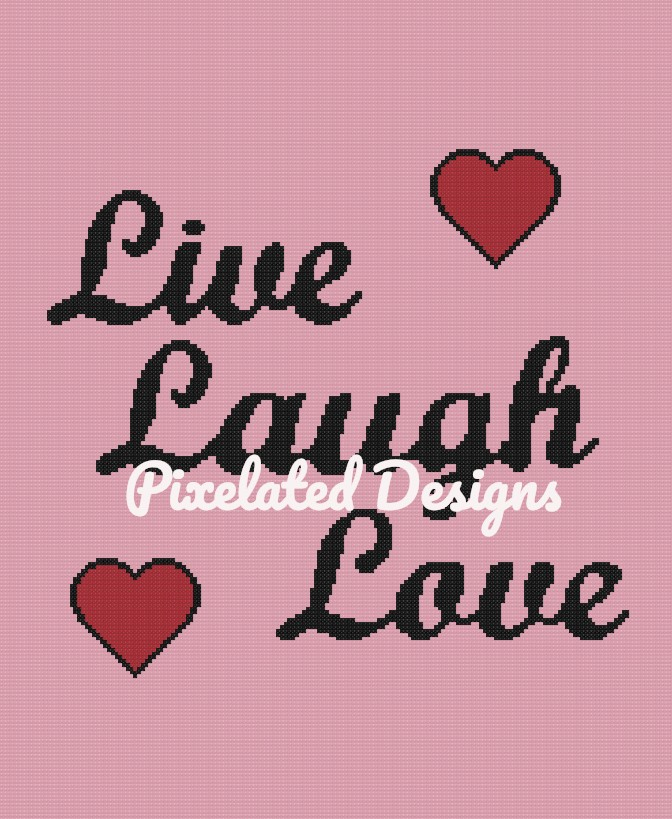 Live Laugh Love Pattern - SC - 180x220 Throw - Graph w/Written