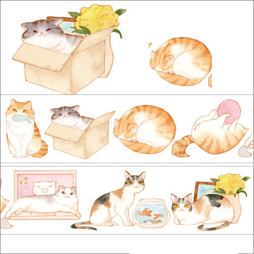 1 Roll of Limited Edition  Washi Tape: Cute Funny Cat