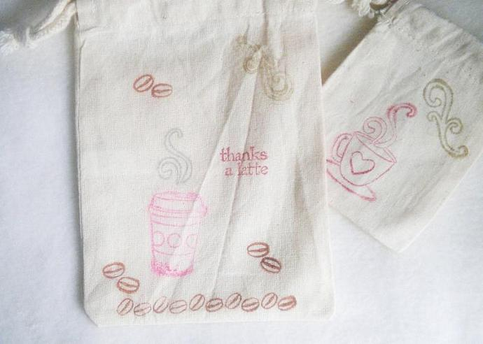 "Thanks a Latte muslin bag - SET OF 4 -  5""x7"""