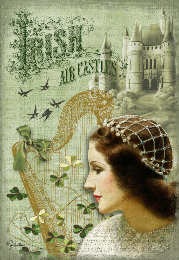 Irish Air Castles Digital Collage Greeting Card2189