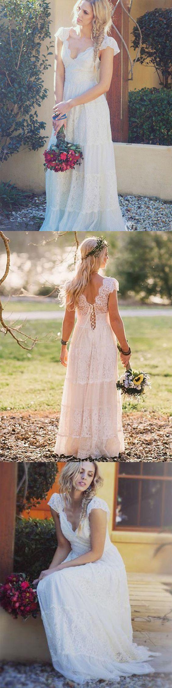 Unique A-Line Scoop Sweep Train Wedding Dress , Modest Cap Sleeves Lace Beach