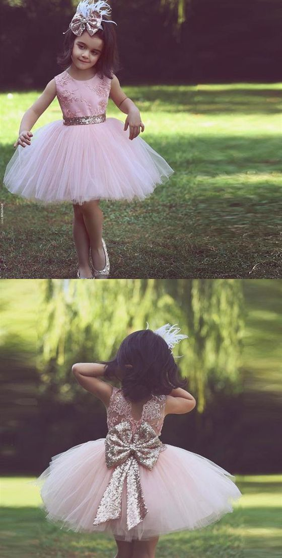 Pink Scoop Neck Backless A Line Tulle Flower Girl Dresses With Sequin Bowknot
