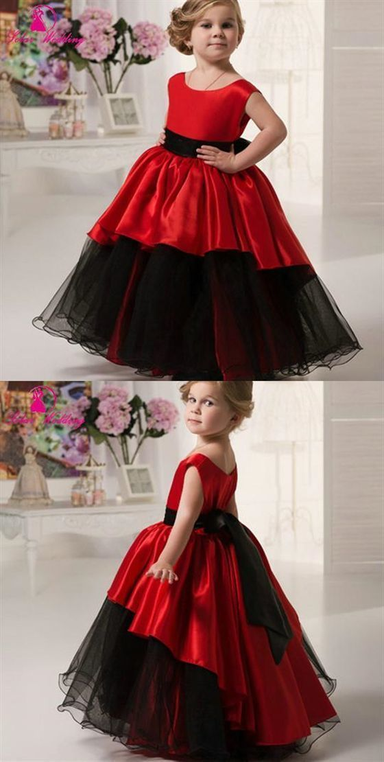 Red Scoop Neck Sleeveless A Line Satin Flower Girl Dresses With Sash