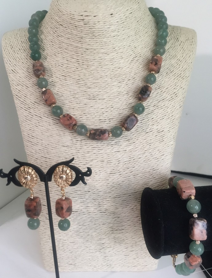 Jade and Jasper Bead Necklace and Earring Set