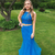 Charming Two Piece Blue Appliques Tulle Prom Dress, Sexy Long Evening Dress with
