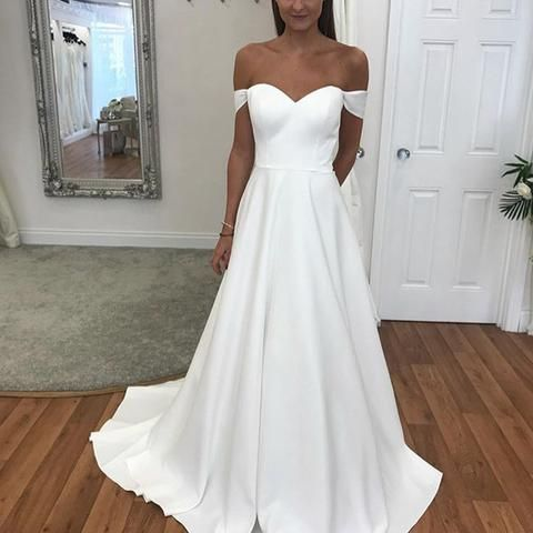 Charming Off the Shoulder A Line Prom Dress, White Long Evening Dress