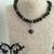 Mottled Black Jasper Heart Necklace and Earring Set