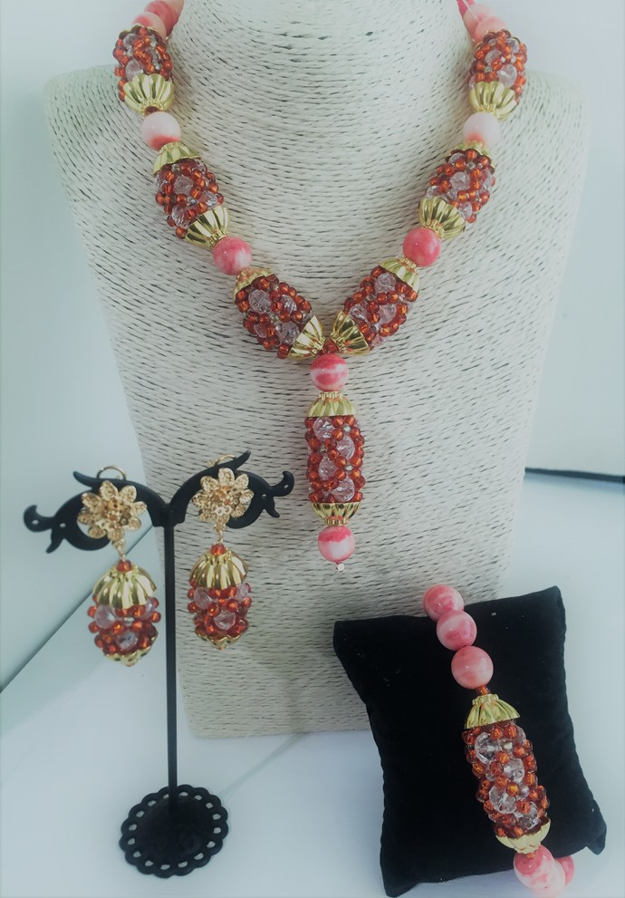 Peach Stone, Woven Necklace, Bracelet and Earring Set