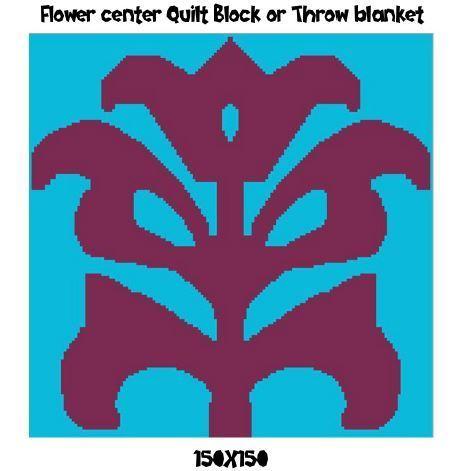 Flower Center Crochet Graph Pattern 150x150