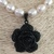 Black Rose, Freshwater Pearl and Black Onyx Necklace and Earring Set