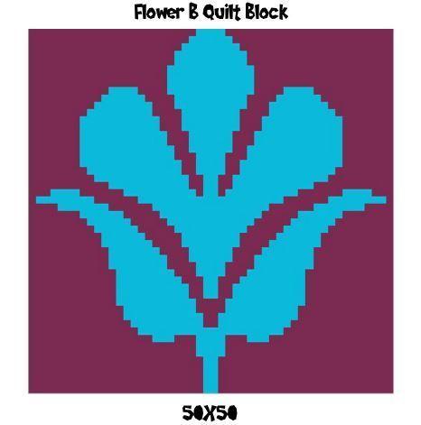 Flower B Quilt Block Crochet Graph Pattern 50x50