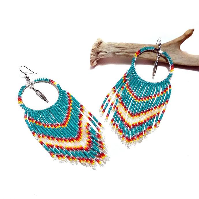 Native American Beaded Hoop Fringe Earrings - Turquoise