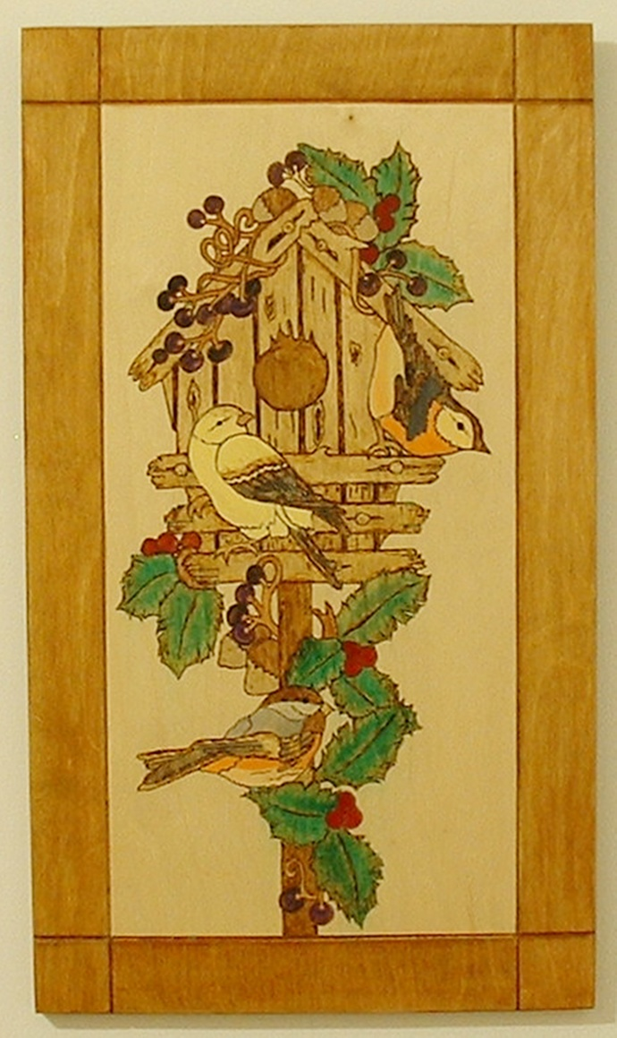 Wood Burned Bird House, Pyrography Wall Decor, Wood Wall Art