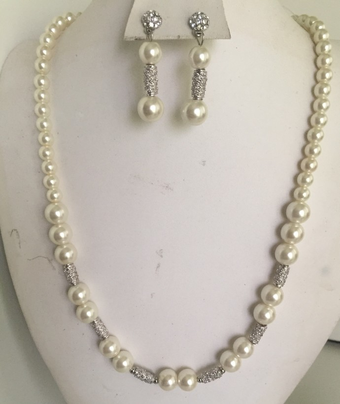 Matinee style Pearl  Necklace and Earring Set
