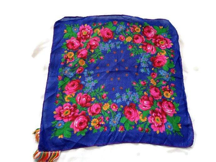Blue Women Scarf, Vintage Women Scarf, Floral Pattern Scarf