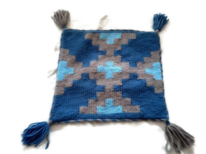 Pillow Case Blue And Grey, handmade, hand knitted pillow case