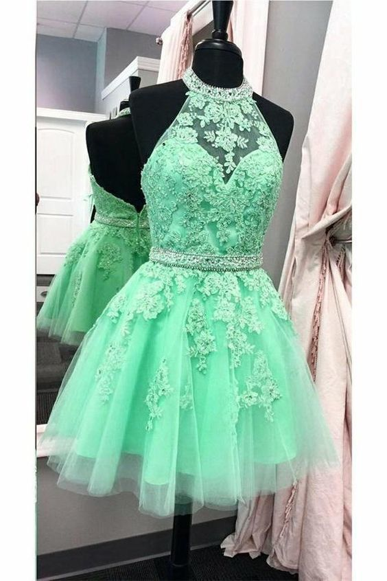 Charming Tulle Appliques Prom Dress, Elegant Green Halter Short Homecoming