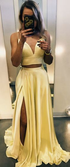 Charming Two Piece Prom Dress, Sexy Sleeveless Long Evening Dress with Slit