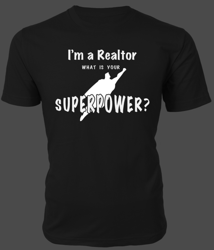 I'm a Realtor. What's Your Superpower? — Text with Superman silhouette graphic—