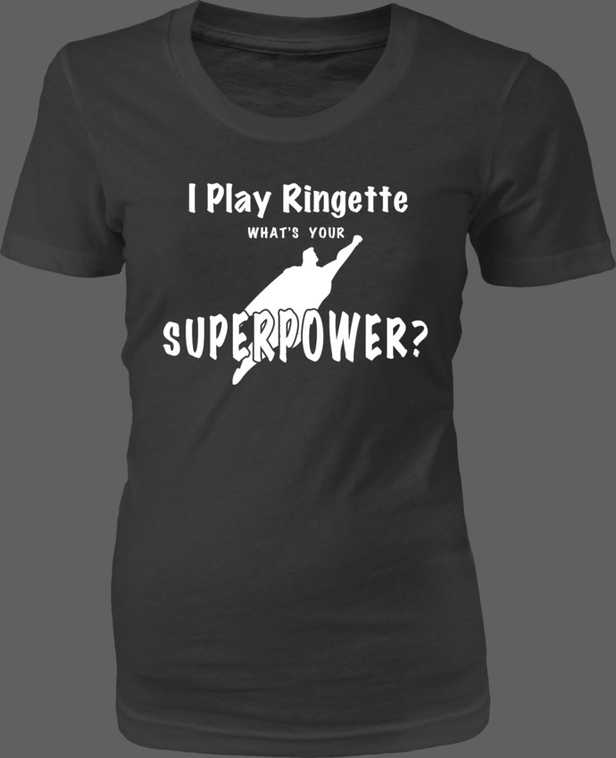 I Play Ringette. What's Your Superpower? — Text with Superman silhouette graphic
