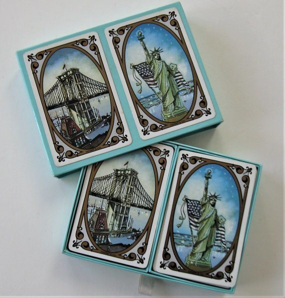 Vintage Tiffany & Company double deck of Playing Cards, original Case, Statue of