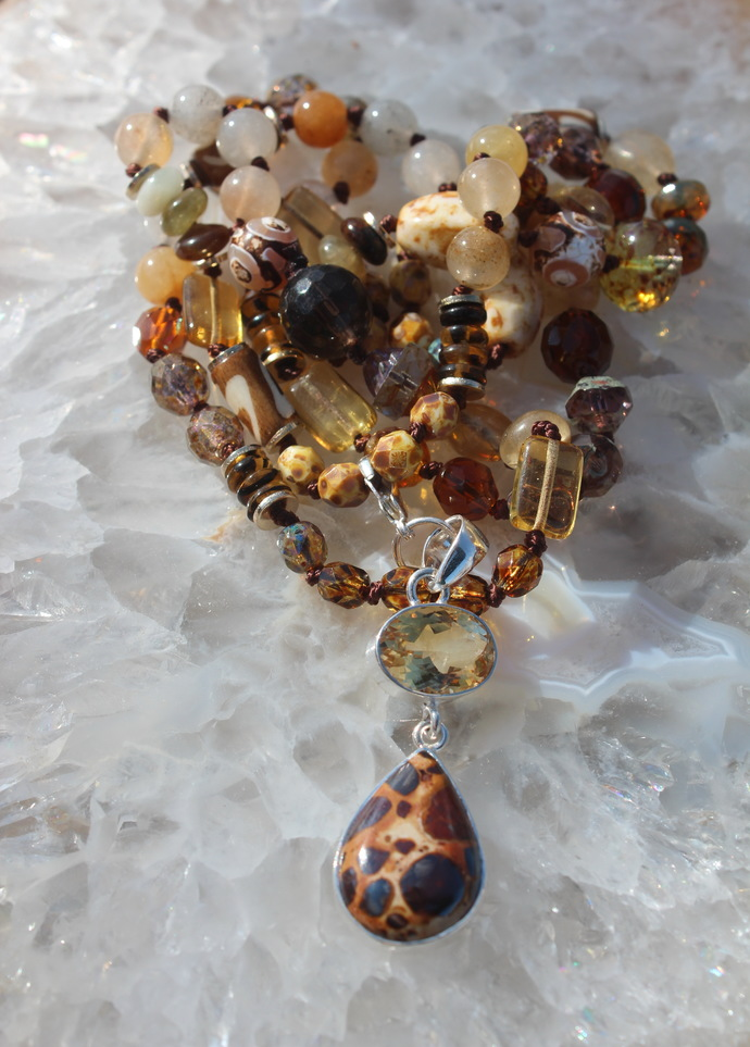 A touch of Animal Print Long Beaded Necklace with Pendant Unique one of a kind