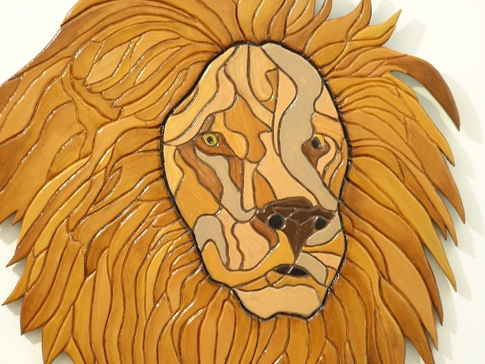 Wood Sculptured, Lion, Intarsia, Wall Decor.