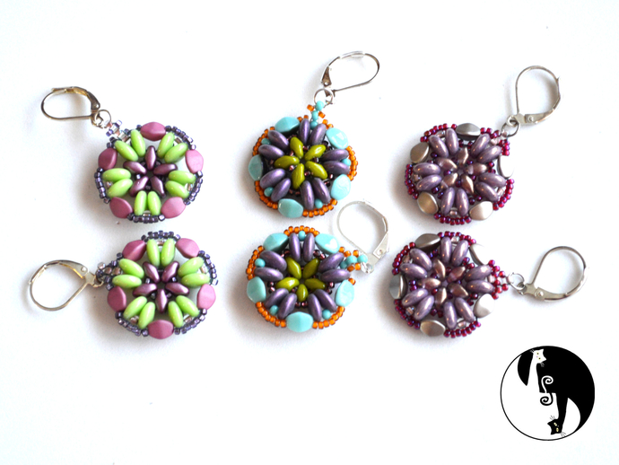 Cinquefoil Earring Pattern by DatzKatz Designs Bead weaving tutorial
