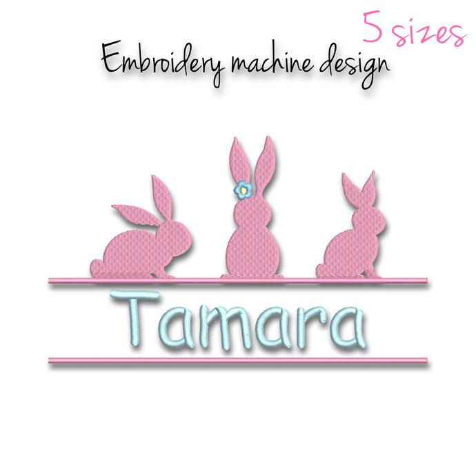 Easter split embroidery machine design monogram bunny rabbit pes