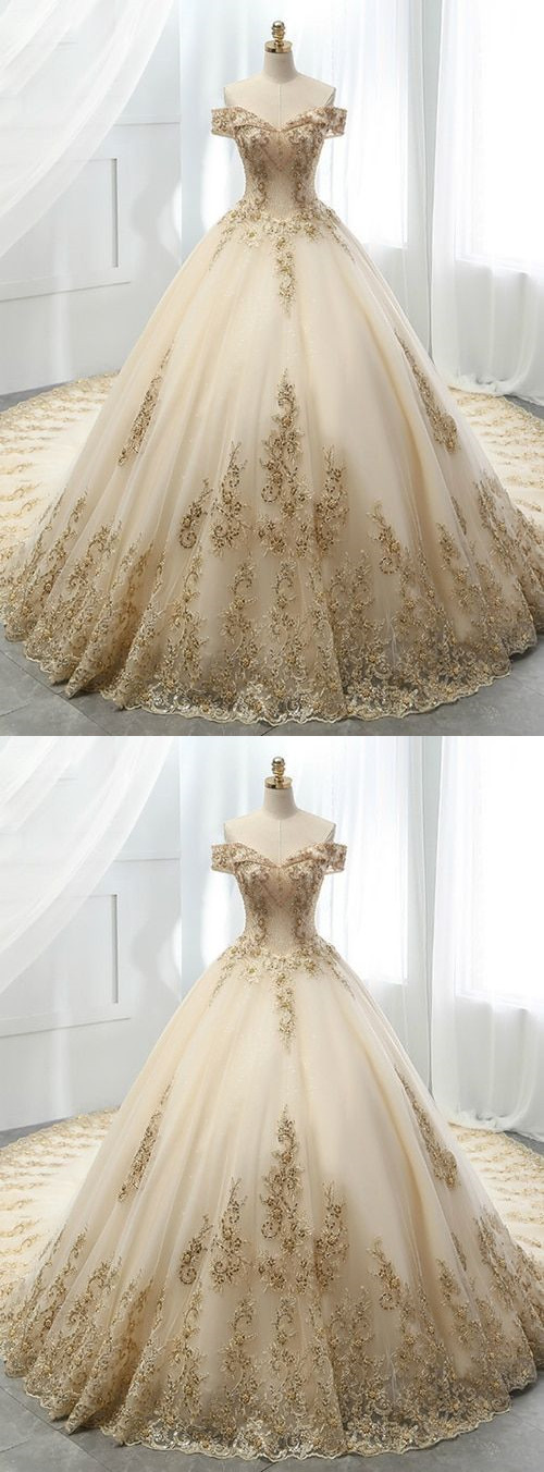 Champagne Ball Gown Tulle Gold Lace Appliques Wedding Dress