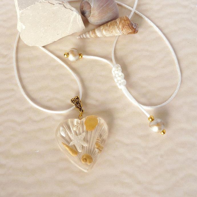 Beach Wedding Jewellery, Gold Seashell and Heart Jewellery, Statement Necklace