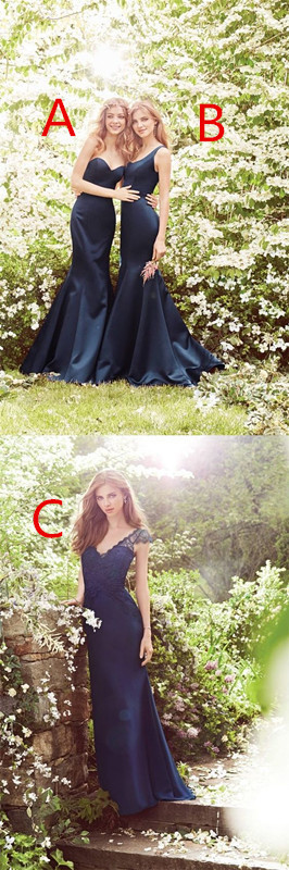 special-occasion prom dress, fashion bridesmaid dress, navy blue bridesmaid