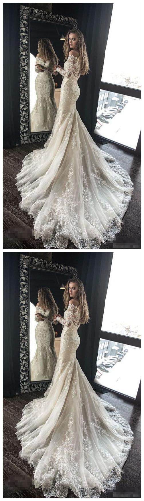 Lace Appliques Beaded Wedding Dresses,Mermaid Sheath Beautiful Bridal