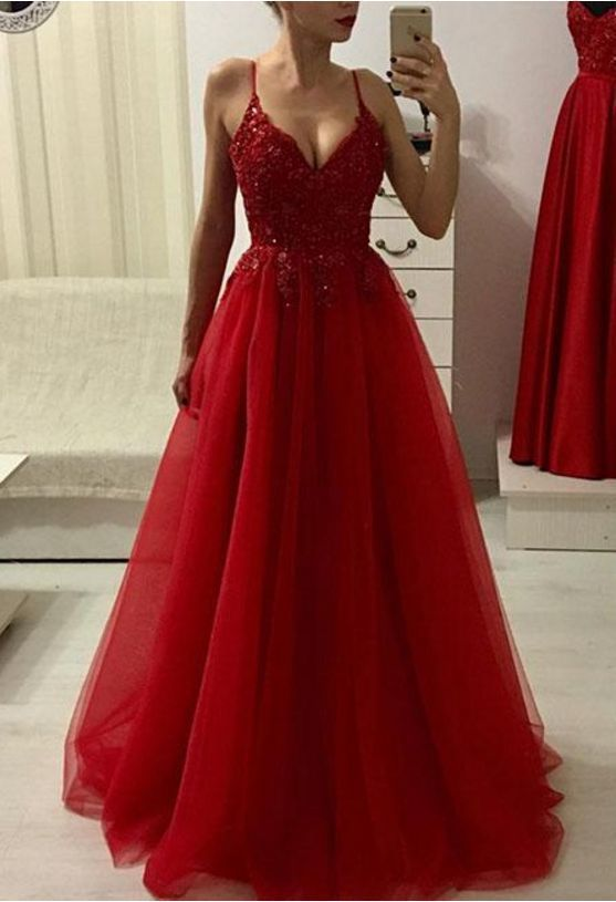 Charming Red Appliques Evening Dress, Sexy Spaghetti Straps Tulle Long Prom
