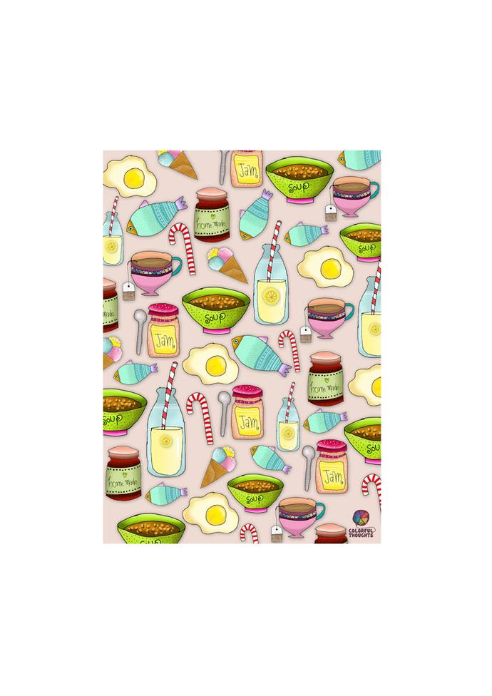 Printed illustration on wood with lamination - Foodies