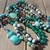 Mother Earths Long Double Wrap Beaded Necklace with pendant in Green Browns by