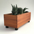Wood Succulent Planter, Modern Rectangular Dark
