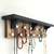 Jewelry Rack Modern Shelf with Black Accents, Striped Wood Back and Metal Hooks